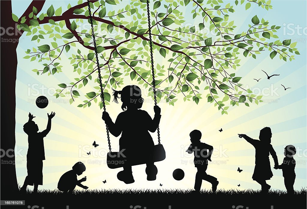 An illustration of silhouettes of children playing outside vector art illustration