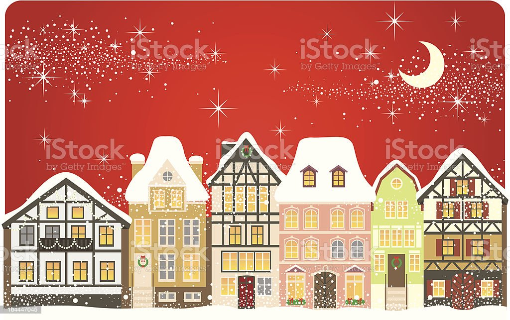 An illustration of snow in a Christmas town vector art illustration