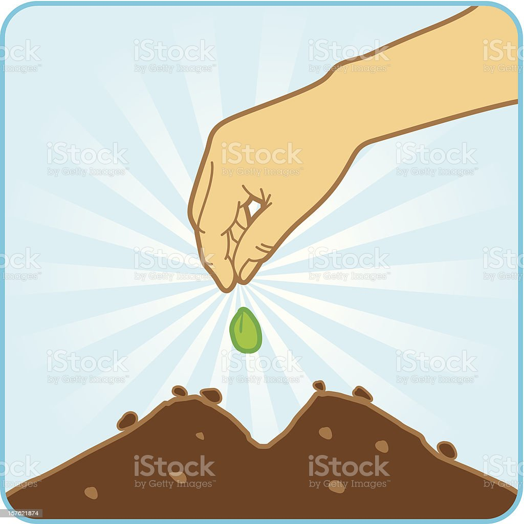 An illustration of someone sowing seeds royalty-free stock vector art