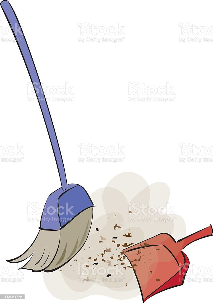 An illustration of sweeping brushes vector art illustration