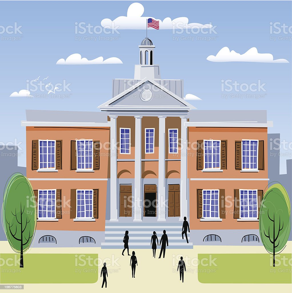 An illustration of the average college royalty-free stock vector art