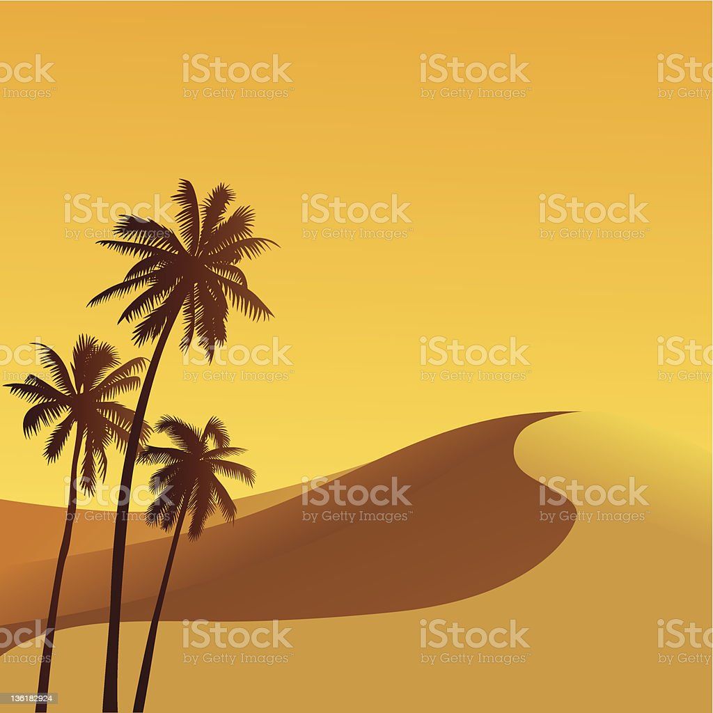 An illustration of the Sahara dessert with three palm trees royalty-free stock vector art