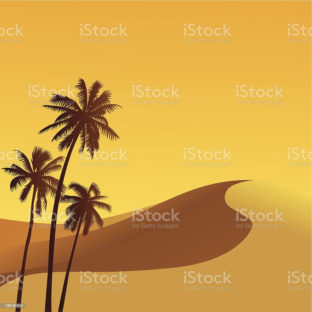 An illustration of the Sahara dessert with three palm trees vector art illustration