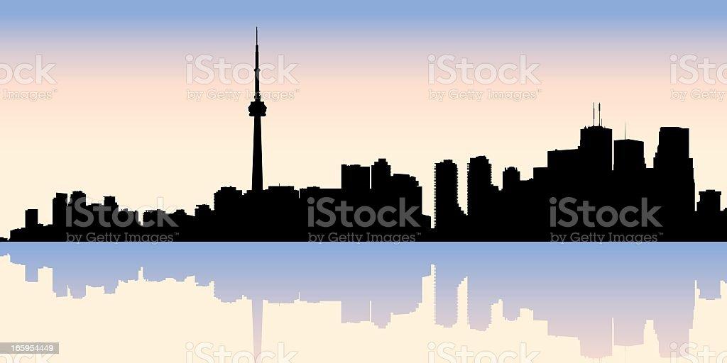 An illustration of the silhouette of Toronto skyline vector art illustration