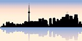 An illustration of the silhouette of Toronto skyline