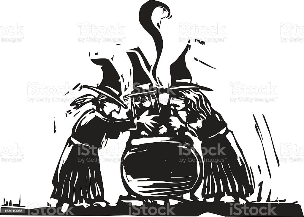 An illustration of three black and white witches vector art illustration