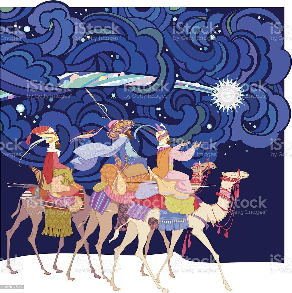 An illustration of three wise men vector art illustration