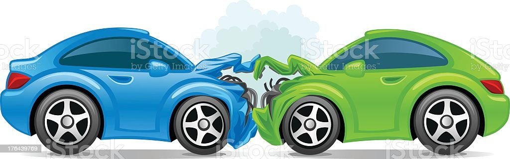 An illustration of two broken sports car due to an accident vector art illustration