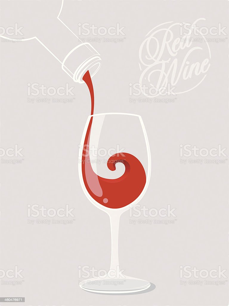 An illustration of wine being poured in a glass vector art illustration