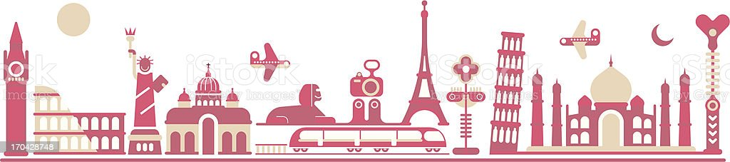 An illustration of world landmarks in pink vector art illustration