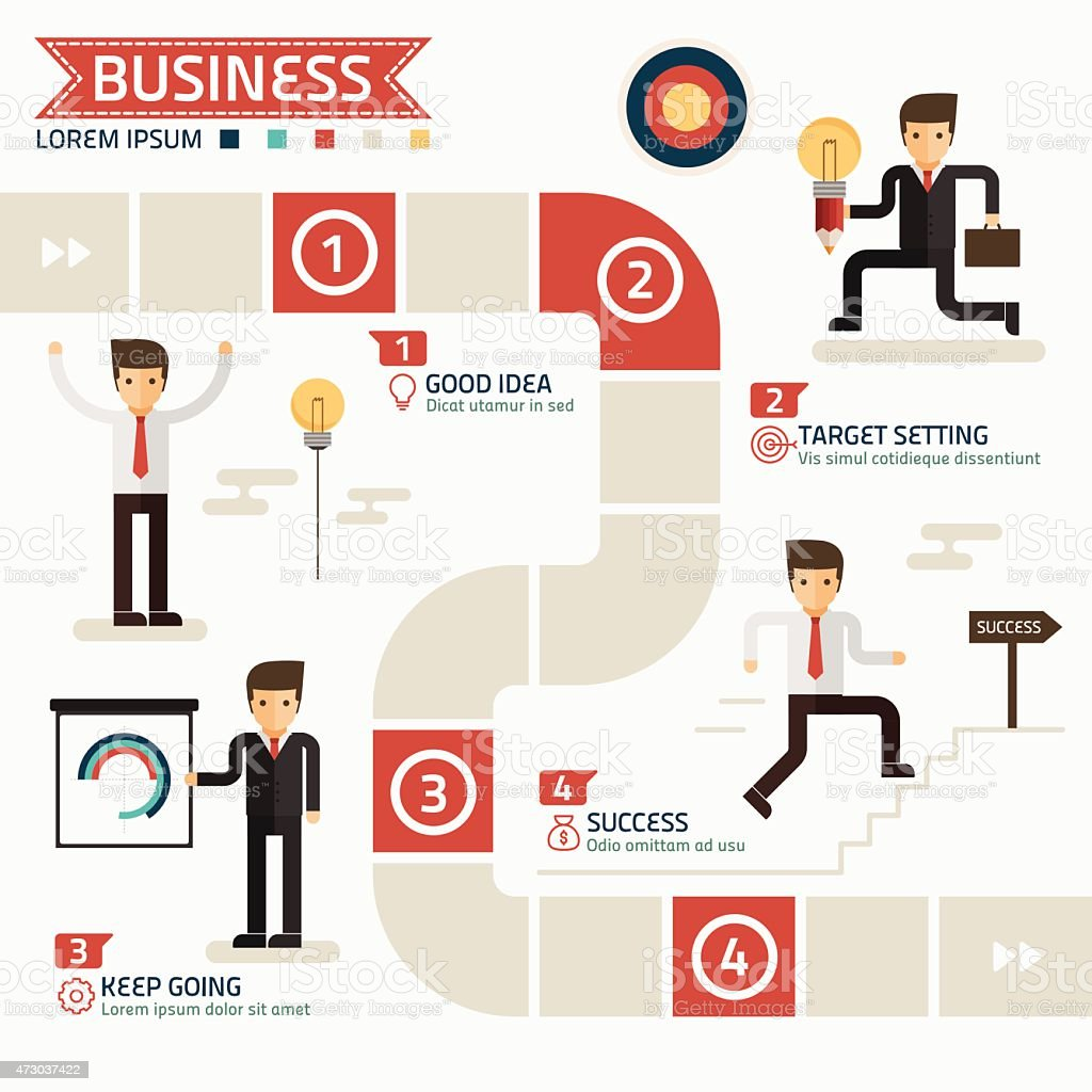 An illustration on how to succeed in business vector art illustration