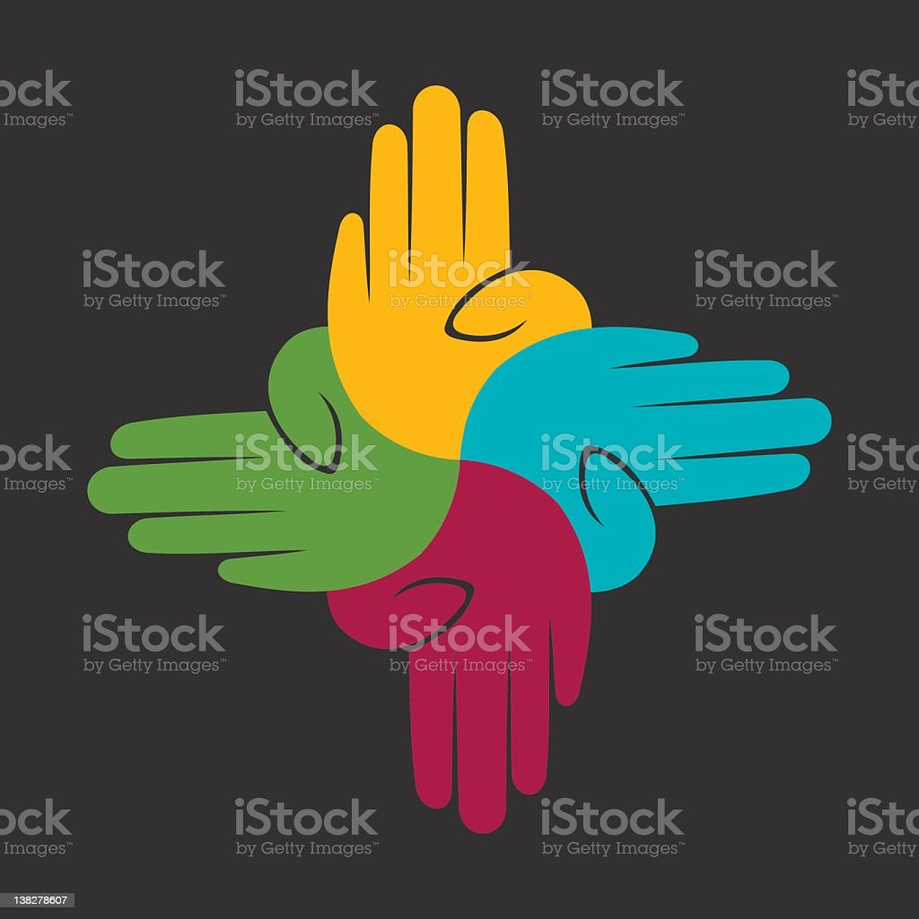 An illustration representing unity with colorful hands  royalty-free stock vector art