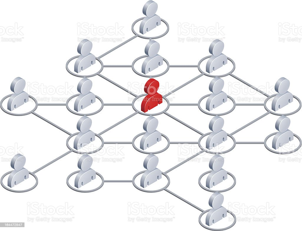 An illustration showing how networking with people work vector art illustration