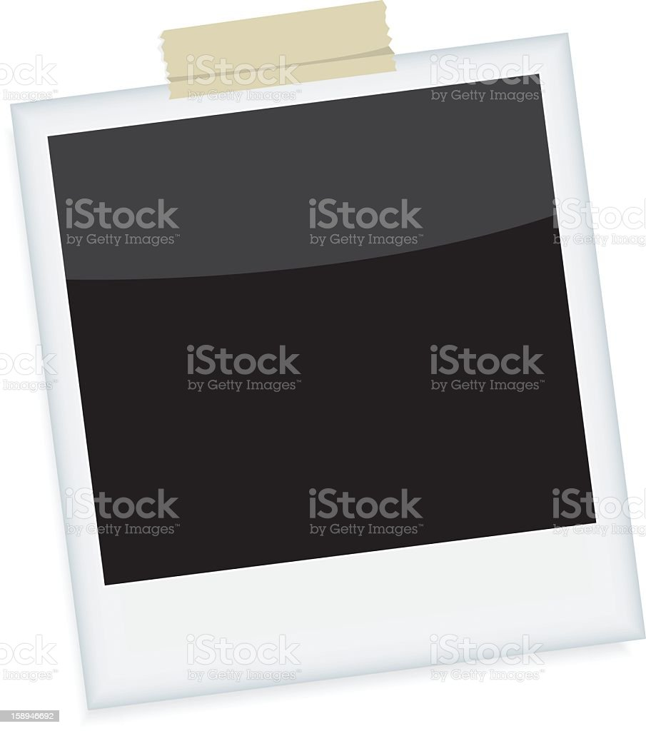 An image of a blank instant photograph, taped to a wall vector art illustration