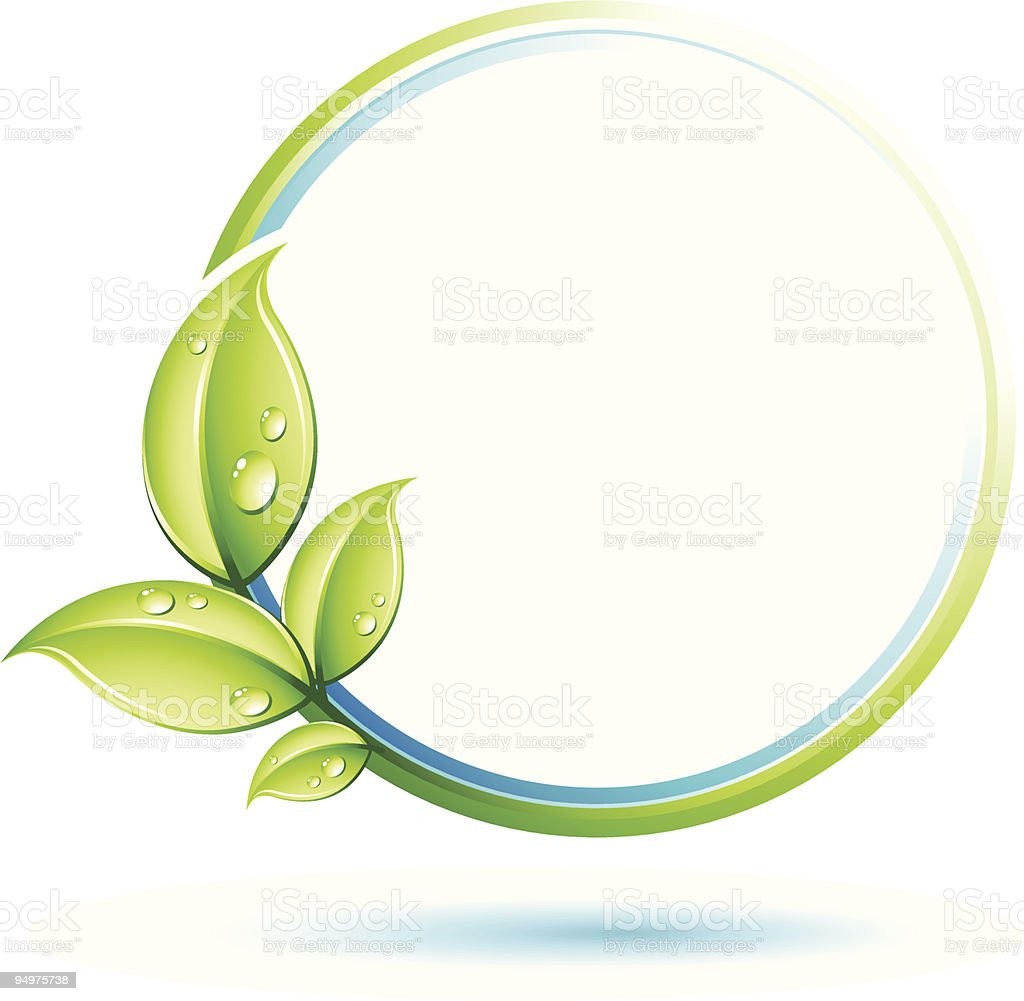 An image of a green circle with leaves growing out of it vector art illustration