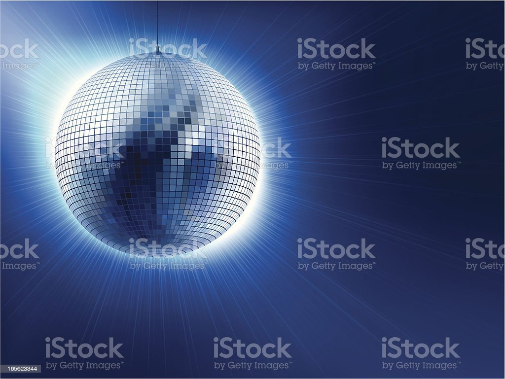 An image of a silver disco ball against blue background vector art illustration