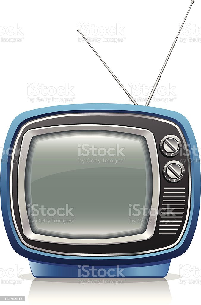 An image of an old style blue portable TV with rabbit ears royalty-free stock vector art