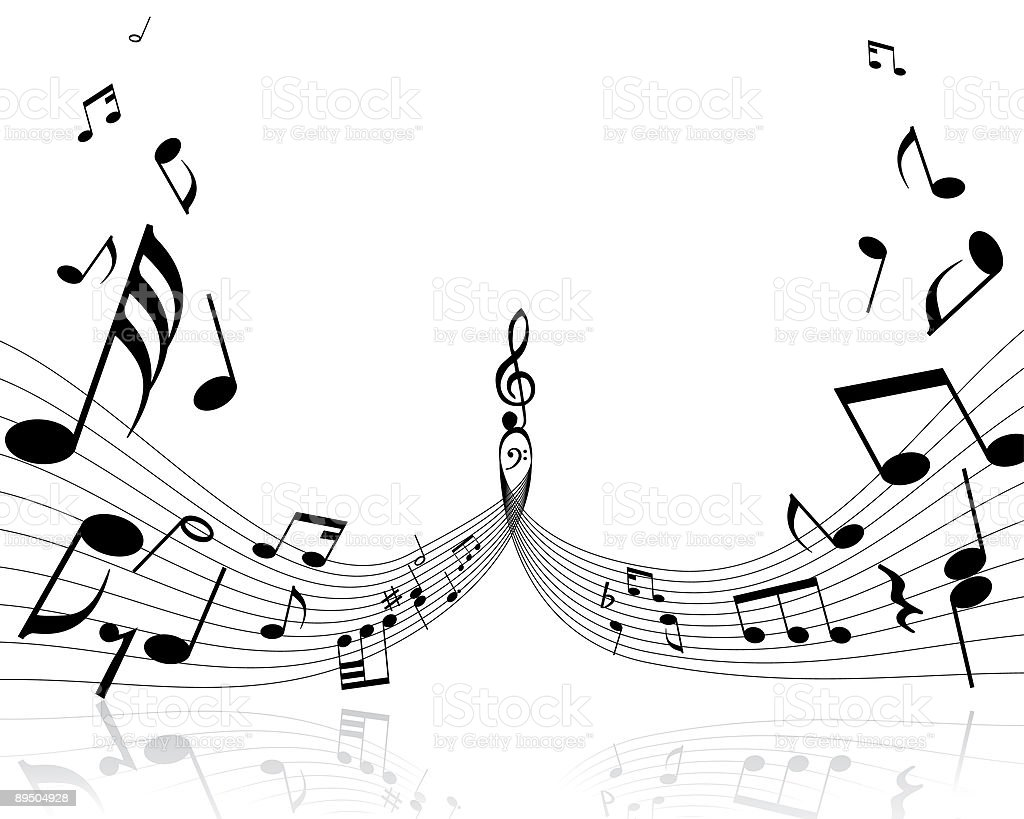 An image of black musical notes vector art illustration