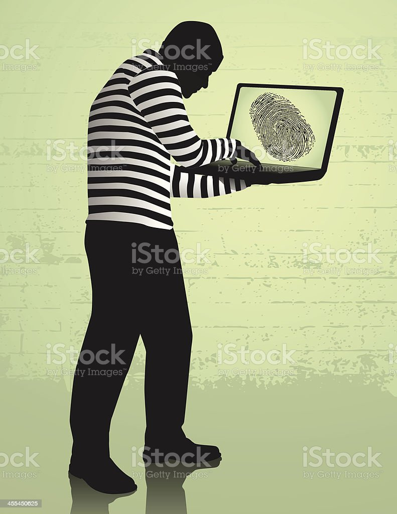An image of computer identity theft royalty-free stock vector art
