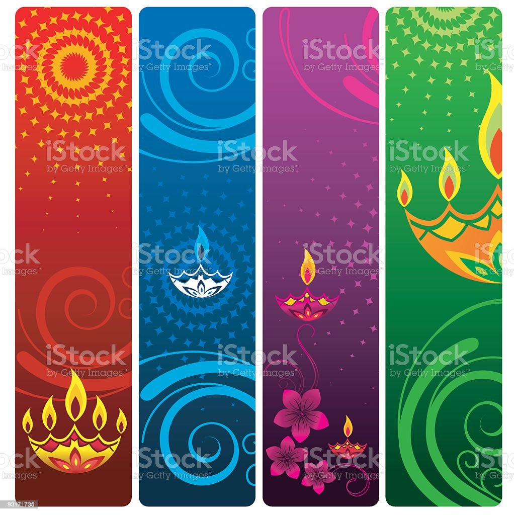 An image of four colorful vector boarders vector art illustration
