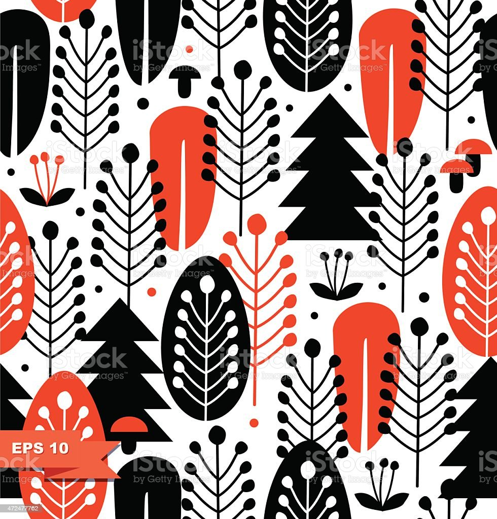 An image of orange and black drawn decorative trees vector art illustration