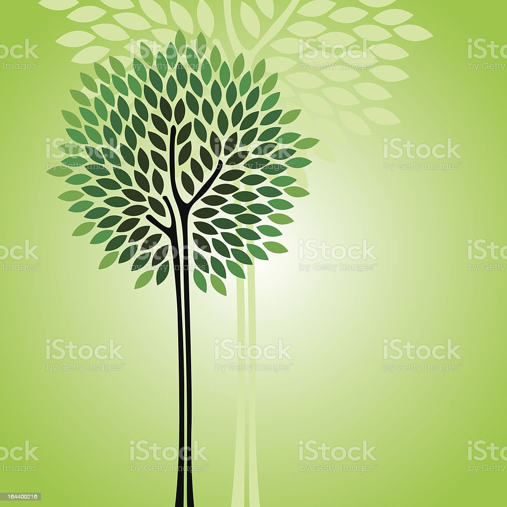 An image of two green trees on a green background royalty-free stock vector art