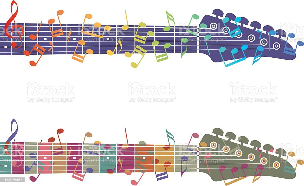 An image of two guitar necks and colorful music notes vector art illustration