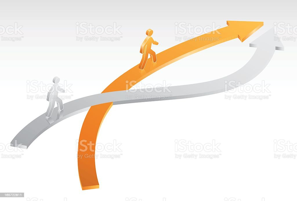 An infographic showing two people on arrows crossing paths royalty-free stock vector art