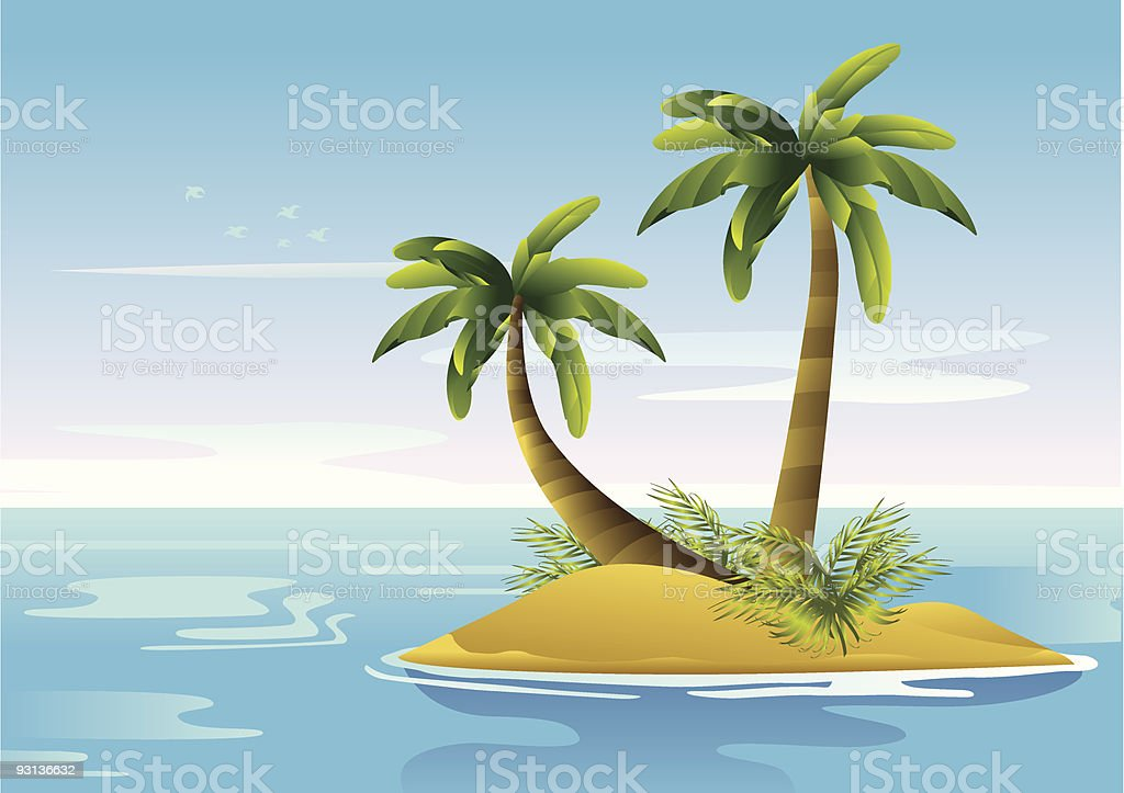 An island in the middle of the sea with two palm trees vector art illustration
