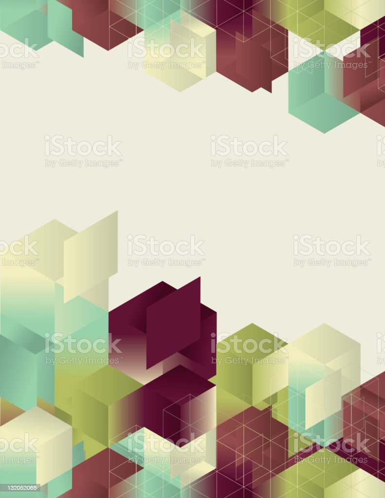 An isometric gradient cube design page with multiple colors royalty-free stock vector art
