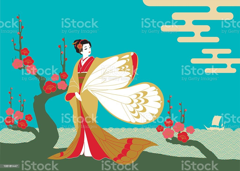 An lustration of a woman in a kimono with butterfly sleeves vector art illustration