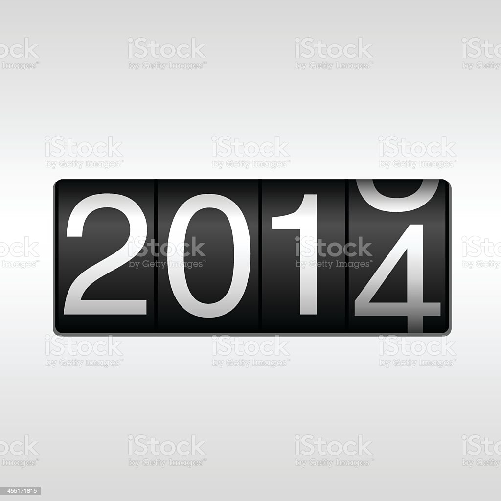 An odometer changing from 2014 to 2015 for New Year royalty-free stock vector art