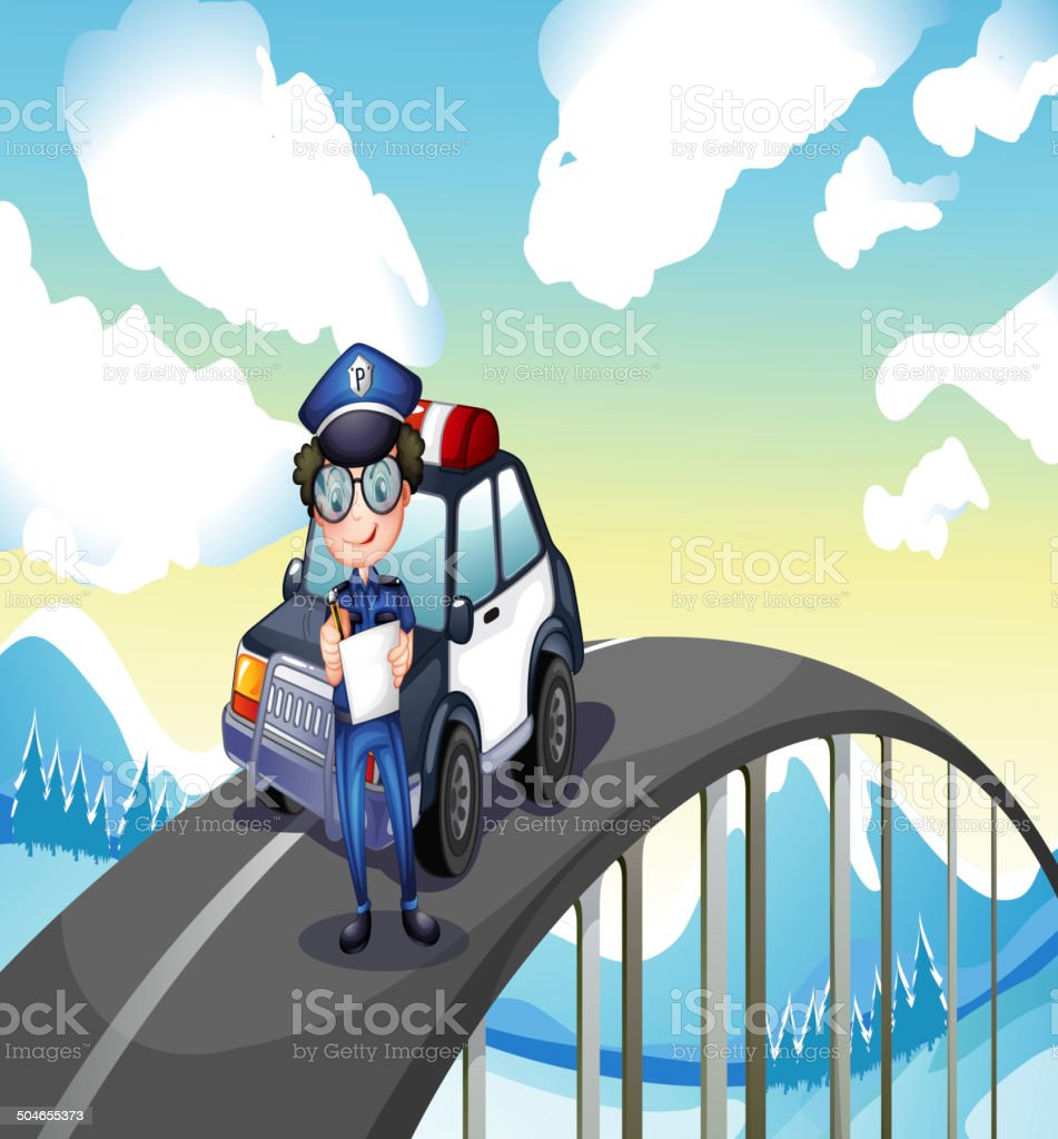 An officer and his patrol car in middle of road vector art illustration