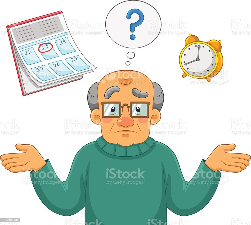 An old animated man forgetting the time and date vector art illustration