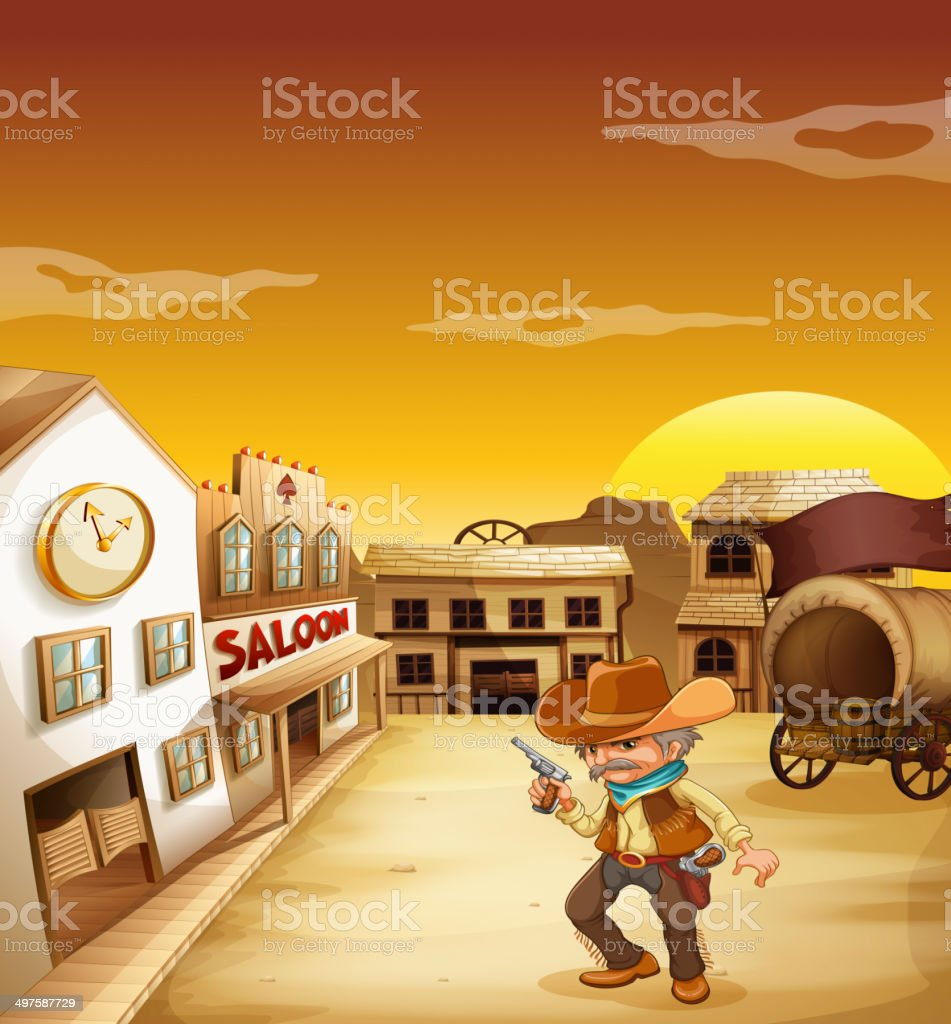 An old cowboy holding a gun outside the saloon vector art illustration