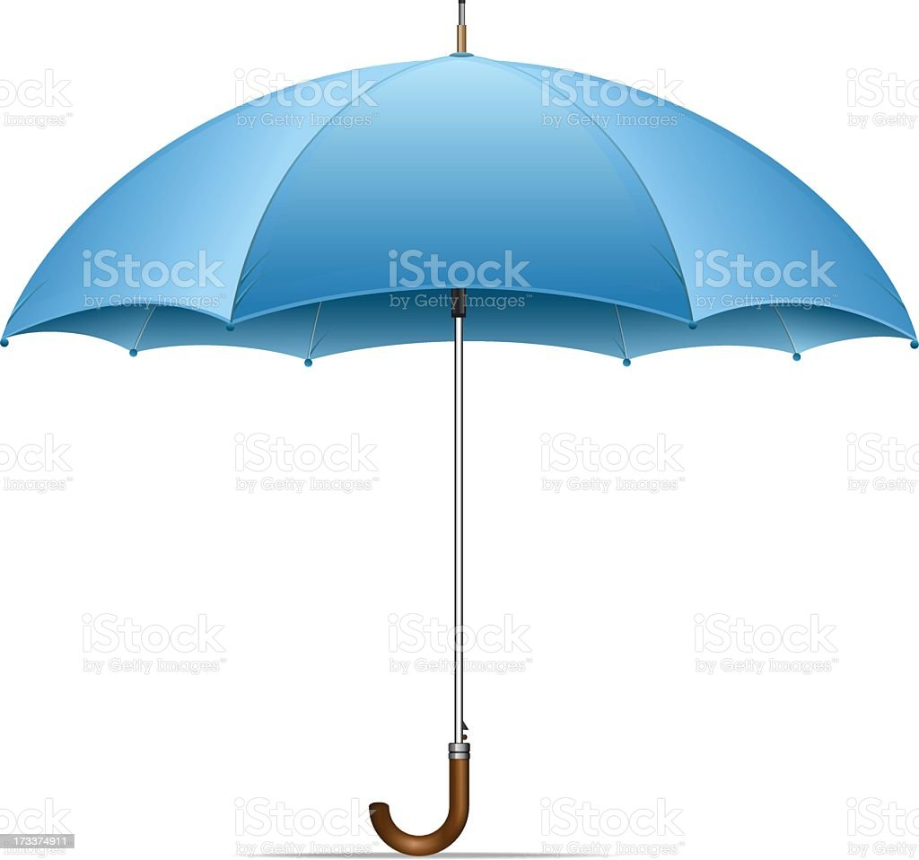 An open blue umbrella on a white background vector art illustration