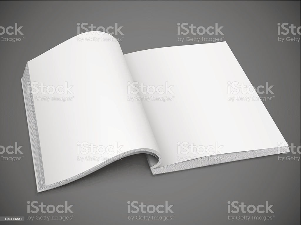 An open book with blank, white pages on a grey background  vector art illustration
