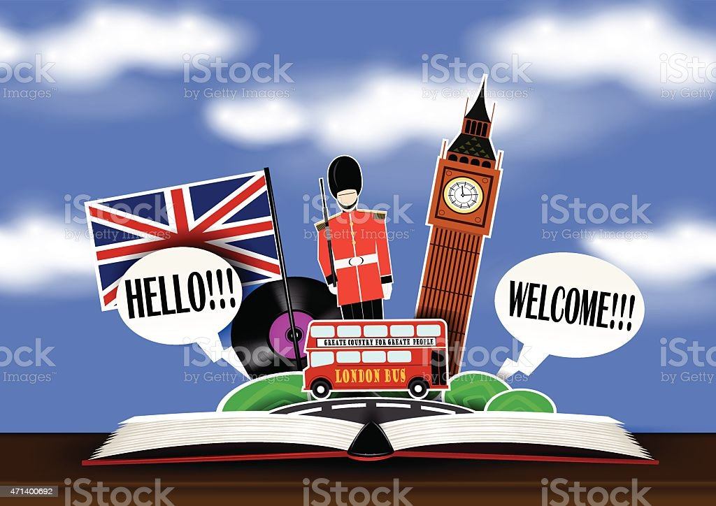 An open book with illustrated London graphics vector art illustration