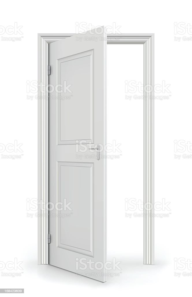 An open, white door leading to nowhere royalty-free stock vector art