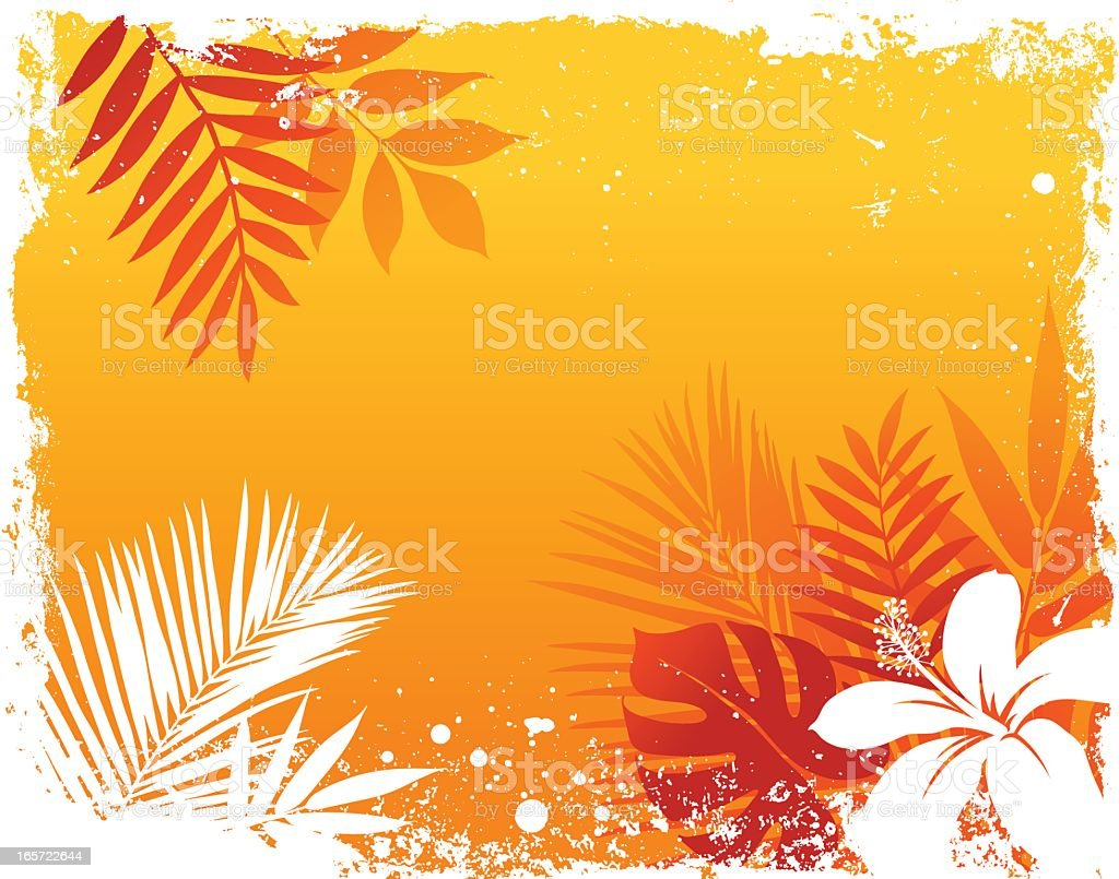 An orange and red tropical themed background royalty-free stock vector art