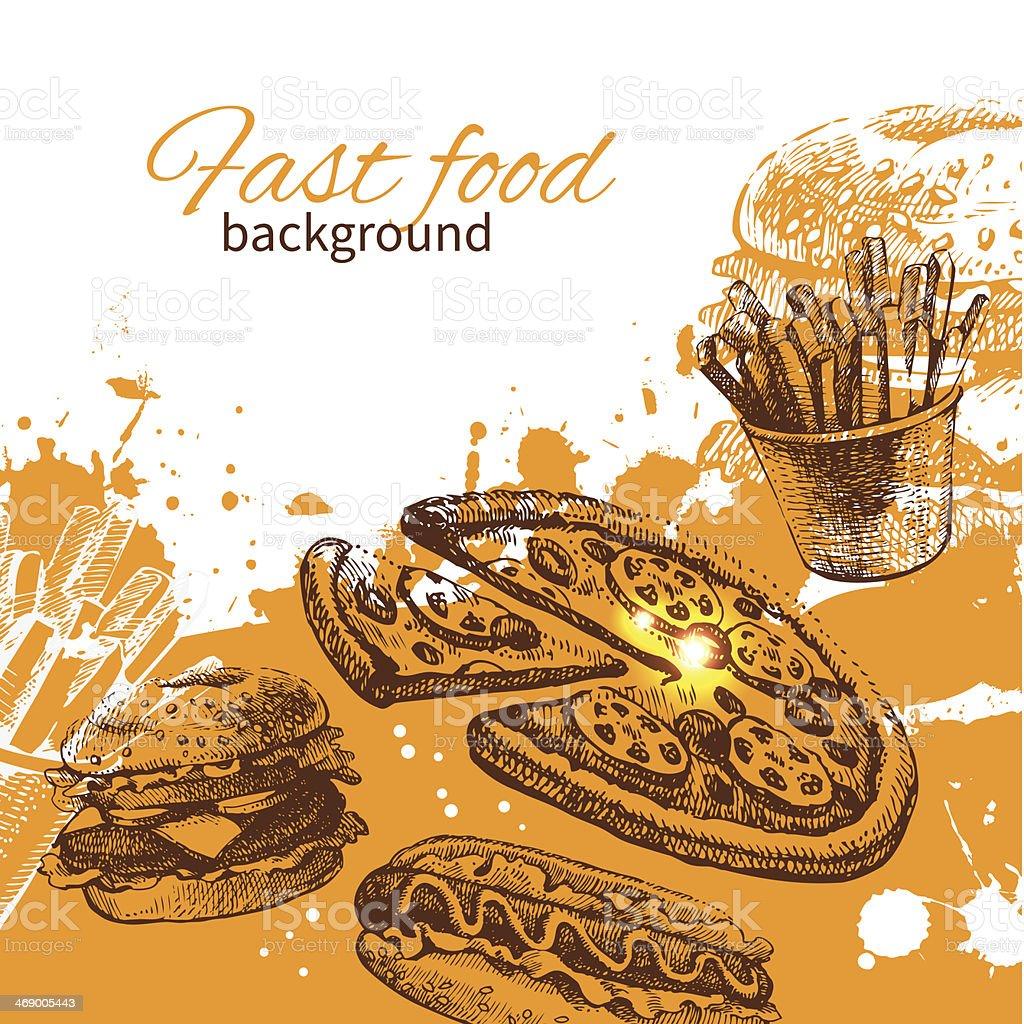 An orange background of fast food vector art illustration