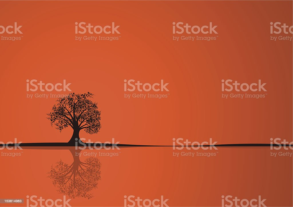 An orange background with a tree standing alone in black royalty-free stock vector art