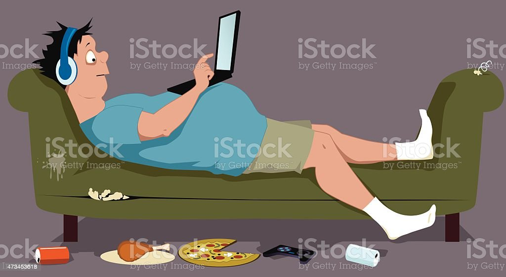 An overweight man eating working drinking out of a couch vector art illustration