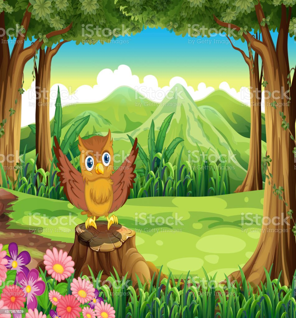 An owl at the forest standing above the stump royalty-free stock vector art