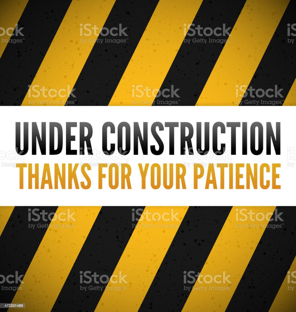 An under construction sign in black, yellow and white royalty-free stock vector art