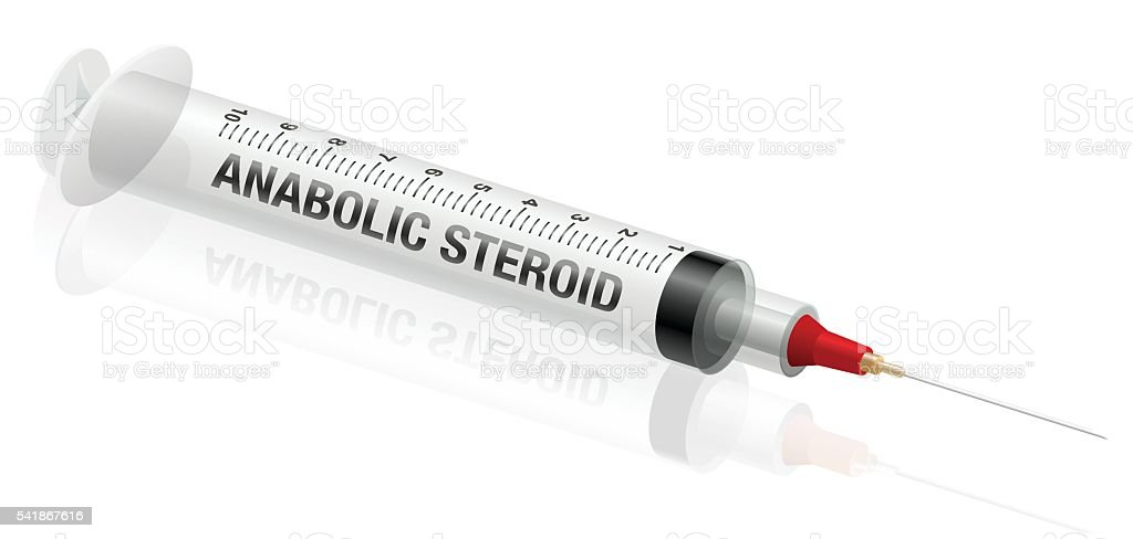 Anabolic Steroid Syringe Injection vector art illustration