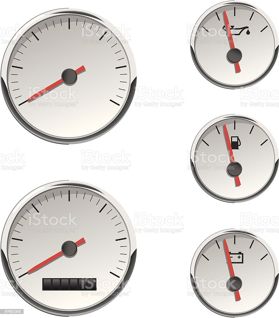 Analog Automotive or Boat Gauges royalty-free stock vector art