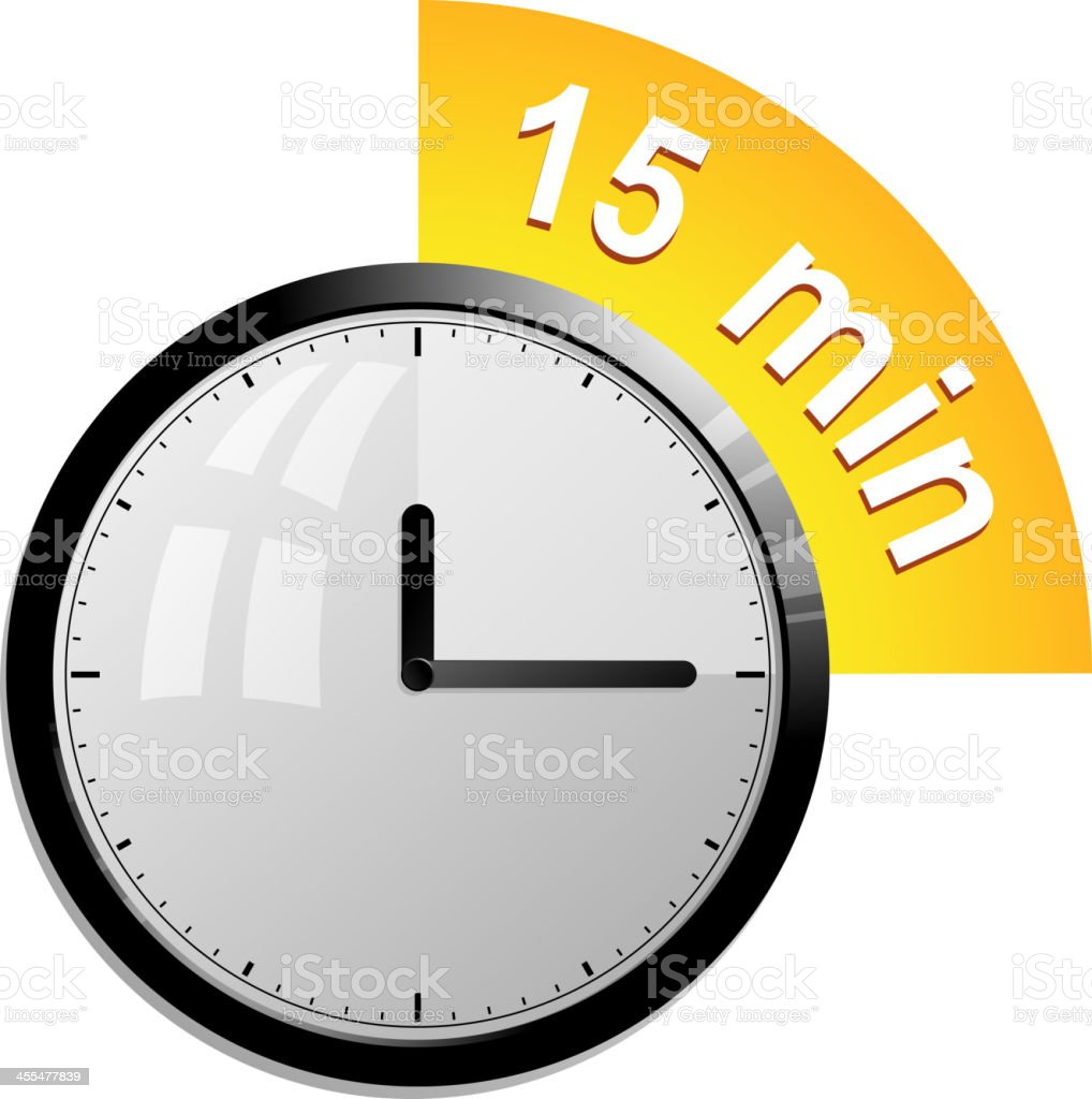 Analog clock displaying 15 minute interval vector art illustration