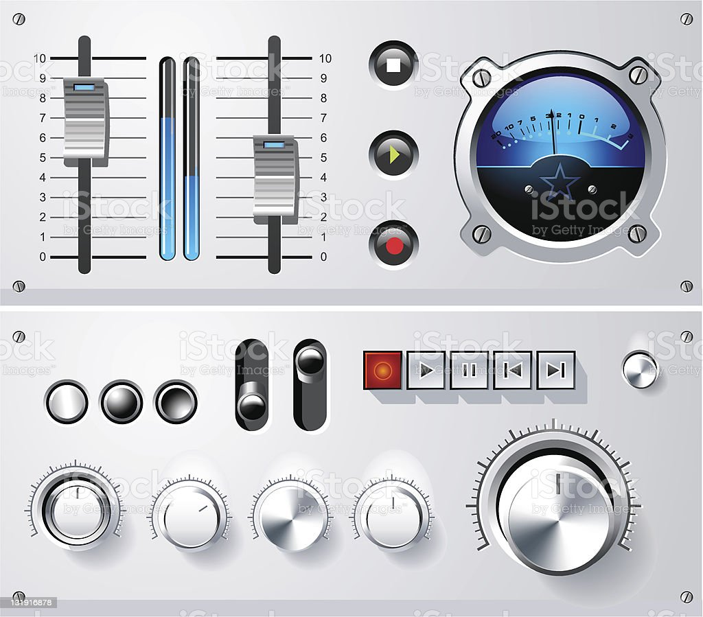 Analog controls interface elements set, vector vector art illustration