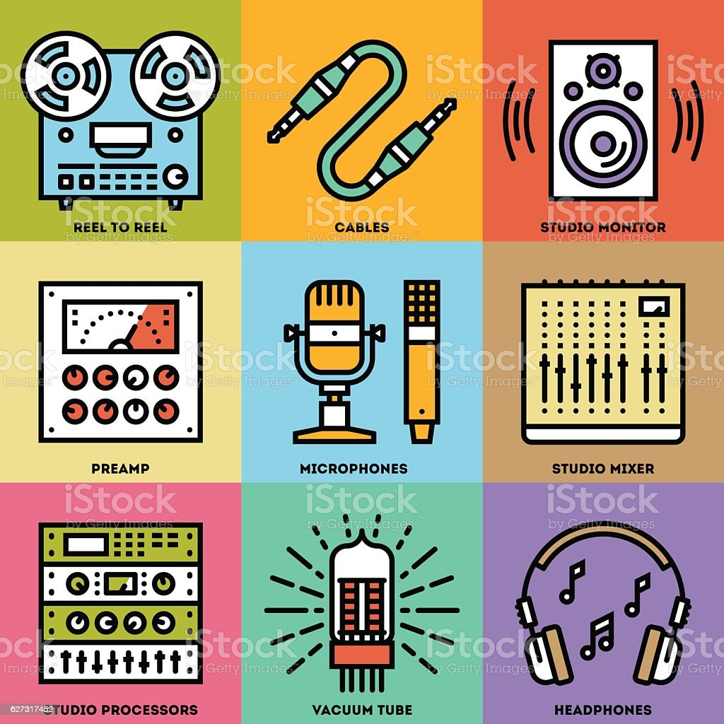 Analog Recording Music Studio. Line Design Color Icon Set. vector art illustration